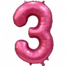"Цифра ""3"" бордовый сатин"