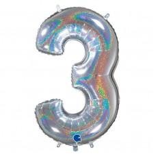 "Цифра ""3"" серебро голография"
