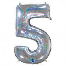 "Цифра ""5"" серебро голография"