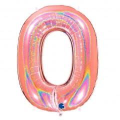"""Цифра """"0"""" розовое золото голография"""