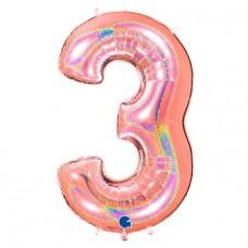"""Цифра """"3"""" розовое золото голография"""