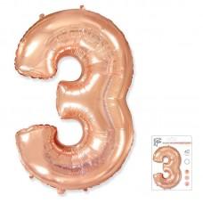 """Цифра """"3"""" розовое золото"""