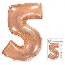 """Цифра """"5"""" розовое золото"""