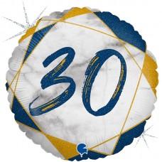 """Круг """"30"""" мрамор синий"""