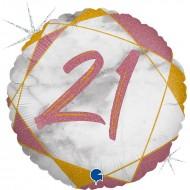 """Круг """"21"""" мрамор розовое золото"""
