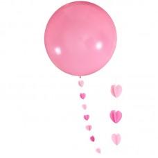 """Шар """"Гигант"""" розовый с подвеской сердца"""