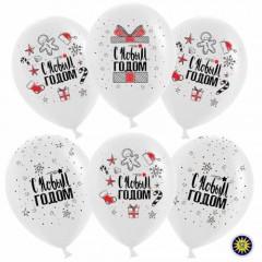 """Воздушные шары """"С Новым Годом"""" снежинки подарки"""