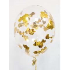 """Воздушные шары """"Конфетти"""" сердца золото"""