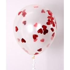 """Воздушные шары """"Конфетти"""" сердца красные"""