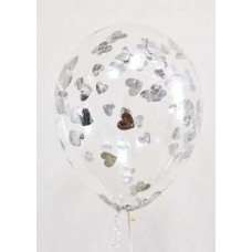 "Воздушные шары ""Конфетти"" сердца серебро"
