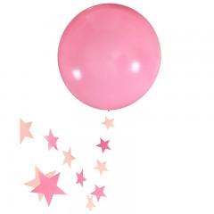 """Шар """"Гигант"""" розовый с подвеской звезды"""