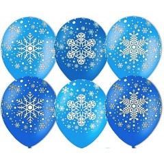 """Воздушные шары """"Снежинки"""" синий"""