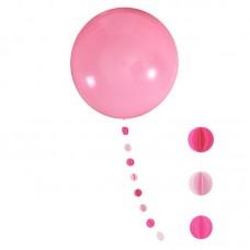 """Шар """"Гигант"""" розовый с подвеской кружки"""