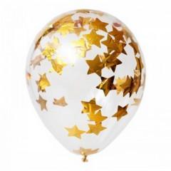 """Воздушные шары """"Конфетти"""" золотые звезды"""