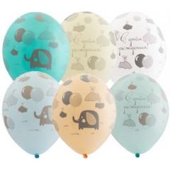 """Воздушные шары  """"С днем рождения"""" слоники"""