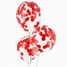 """Воздушные шары """"Конфетти"""" красные бумажные"""