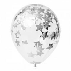 """Воздушные шары """"Конфетти"""" серебряные звезды"""