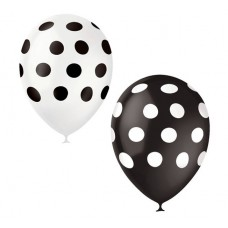 """Воздушные шары """"Горох"""" черно-белые"""