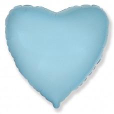 Сердце фольгированное голубое