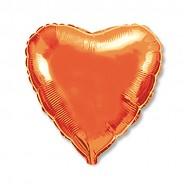 Сердце фольгированное оранжевое