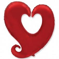 Сердце витое красное