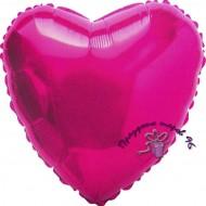 Сердце фольгированное фуксия