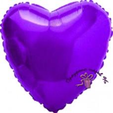 Сердце фольгированное фиолетовое 75 см.