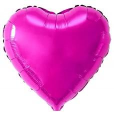 Сердце фольгированное фуксия 75 см.