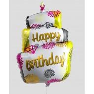 "Фольгированный шар ""Торт"" Happy Birthday бриллиант"