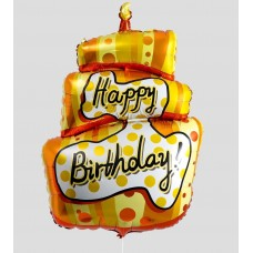 """Фольгированный шар """"Торт"""" Happy Birthday оранжевый"""