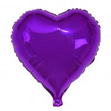 Сердце фольгированное фиолетовое
