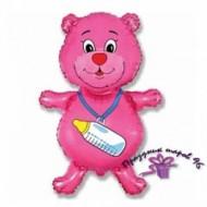 """Фольгированный шар """"Розовый мишка"""""""