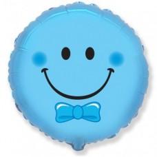 """Фольгированный шар """"Смайл"""" голубой"""