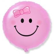 """Фольгированный шар """"Смайл"""" розовый"""