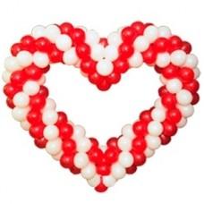 """Фигура """"Сердце крученое"""" красно-белое"""